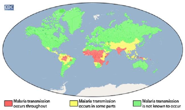 Красным отмечены регионы обитания малярийного комара